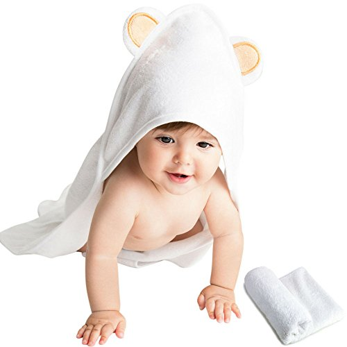 Bamboo Baby Hooded Bath Towel And Washcloth Set By Vesta Baby: Organic And Eco-Friendly, Soft For Sensitive Skin, Hypoallergenic, Antibacterial, 30x30Absorbent Towel For Babies. (Standard Set)