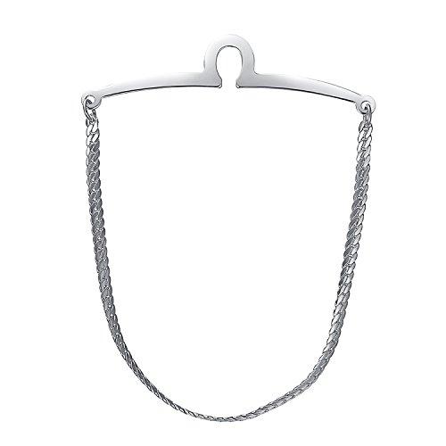 (Yoursfs Tie Pin Chain Silver Mens Single Loop Tie Bar Chain Herringbone Cravat Collar Shirt Pins)