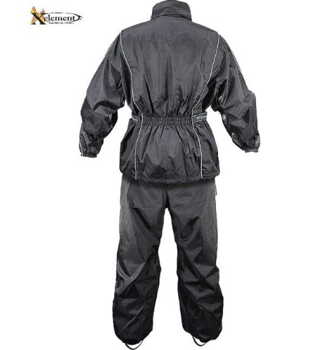 Xelement RN4760 Mens Black 2-Piece Motorcycle Rain Suit with Boot Strap - X-Large
