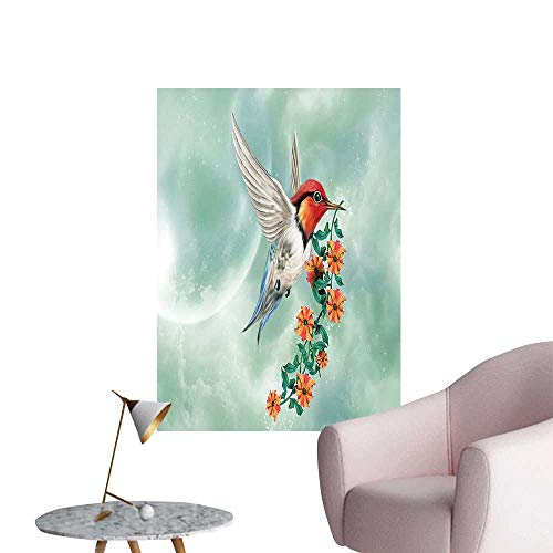 (Wall Stickers for Living Room Hummingbird Flying Branch Nature Orange Green Vinyl Wall Stickers Print,32