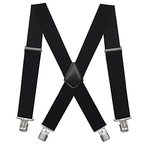 Fasker Mens Suspenders X-Back 2'' Wide Adjustable Solid Straight Clip Suspenders by Fasker