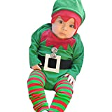 Best Gift for Baby,Baby Merry Christmas Outfits,3PCS Baby Boys Girls Xmas Embroidery Xmas Romper 1PC Romper +1Pair Leggings+1PC HatSanta Claus Clothes Clothing