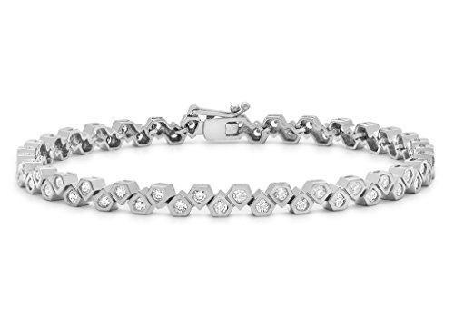 9ct or blanc 2mm pierre transparente Décagonale Bracelet de tennis 19cm/7.5'