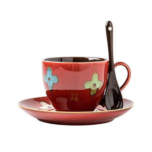 Verdental Four-leaf Clover Ceramic Drum Shaped Mini Cafe Mug with Saucer and Spoon Gift Box ()