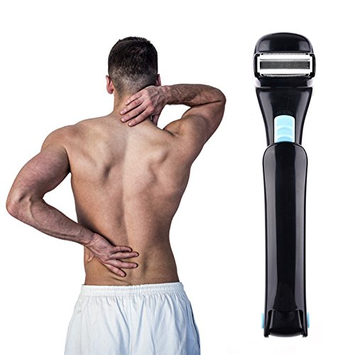 Oshide Electric Back Shaver Razor Back Hair Body Groomer Trimmer with Folding Long Handle For Mens, Blade Cleaning Brush Included,Batteries not Included