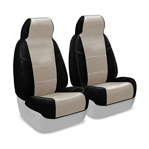 Coverking Custom Fit Front 50/50 High Back Bucket Seat Cover for Select Chevrolet Corvette Models - Premium Leatherette 2-Tone (Cashmere with Black Sides)