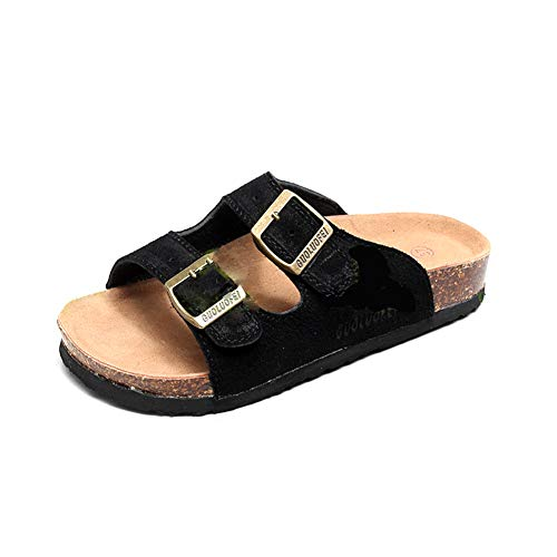 Asifn Women's Sandal Cork Sandals Slide Flat Strap Buckle Girl Leather Footbed Adjustable Casual Double Toe Shoes Summer Open Platform Suede Slides Black(7 US Men/8 US Women,24.5 cm Heel to Toe