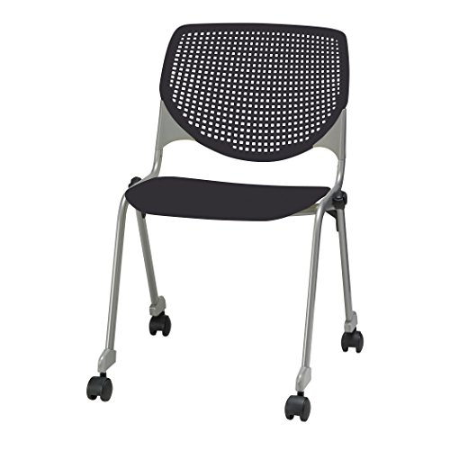 Armless Storage Chair - KFI Seating KOOL Series Polypropylene Stack Chair with Perforated Back and Casters, Black Finish