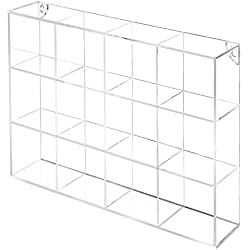 MyGift Wall Mounted Clear Acrylic 12 Compartment Organizer Rack/Freestanding Kitchen Bathroom Counter Shelf