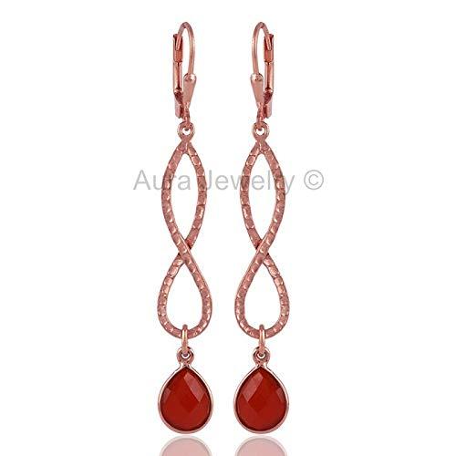 22k Rose Gold Over Sterling Silver Earrings for Women & Girls, 22k Rose Gold Red Onyx Earrings Drop & Dangle Bridesmaid Gift, Handmade Jewelry ()