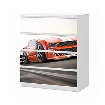 Set Möbelaufkleber para Ikea Cómoda Malm 4 Compartimentos / Gavetas Auto Carrito Coche de Carreras Rennen Sport Adhesivo Lámina para Muebles Pegatina (sin ...