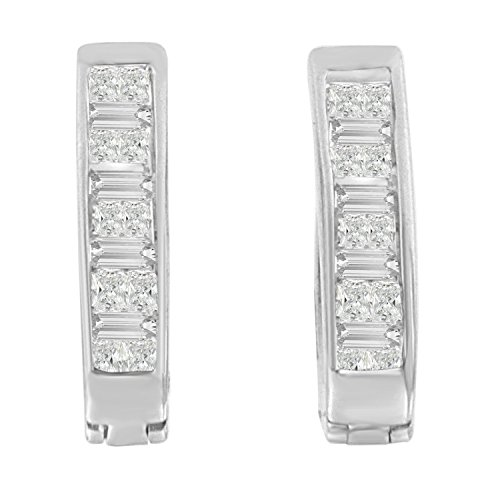 14K White Gold Princess and Baguette-Cut Diamond Earrings (0.50 cttw, H-I Color, SI1-SI2 Clarity)