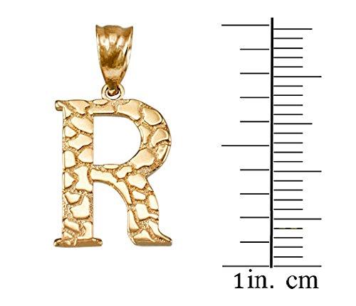 LA BLINGZ 14K Yellow Gold Nugget Initial Letter Alphabet Necklace