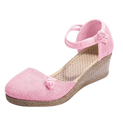 Womens Elastic Band Closed Toe Espadrilles Platform Heel Wedge Shoes Ankle Strap Sandals (Pink -3, ()