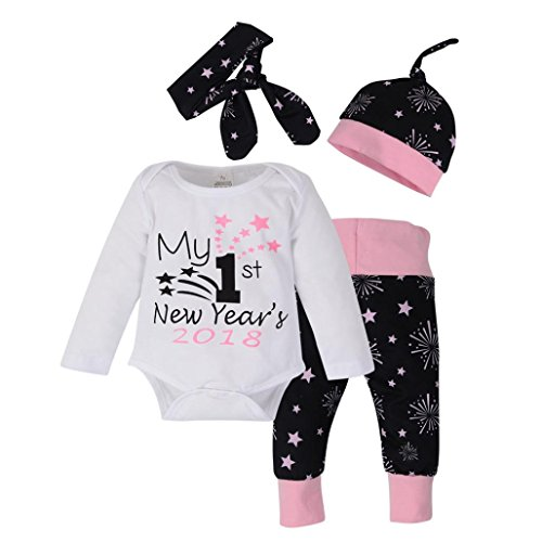 (Winsummer Newborn Infant Baby Girls My First New Year 2019 Bodysuit Tops Firework Pants Bowknot Headband Outfits Set (12-18M,)