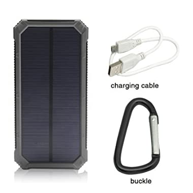 Solar Charger, Solar External Battery Pack, iBeek® Portable 12000mAh Dual USB Solar Battery Charger Power Bank Phone Charger with Carabiner LED Lights for Emergency Cell Phones Tablet Camera (Black)