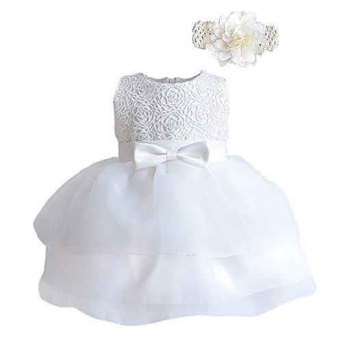 Romping House Newborn Baby Girls Christening Baptism Gown Wedding Pageant Formal Dress With Headband Ivory Size 3M