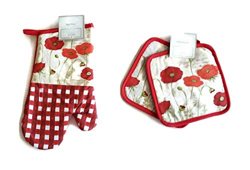 (Gingham Summertime Flowers 3 Piece Linen Bundle Package Oven Mitt (1) Pot Holders (2) )