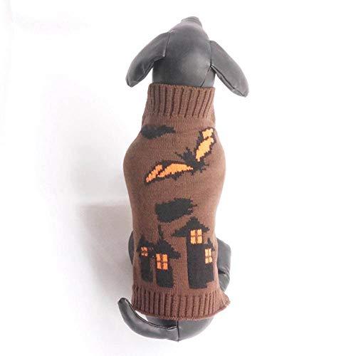 Hpapadks Halloween Bat Castle Pattern Pet Sweater,Halloween Brown Bats Castle Style Pet Dog Cute Clothes Puppy Winter Sweater -