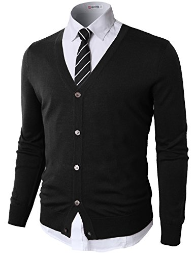 H2H Mens Casual Slim Fit Knitted Basic Designed V-Neck Long Sleeve Cardigan Black US S/Asia M (CMOCAL09)