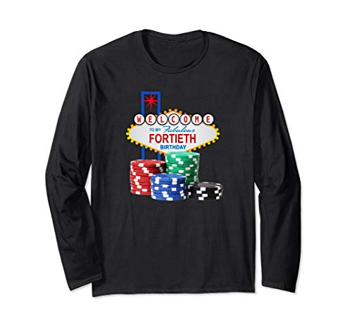 Retro Las Vegas Casino 40th Birthday Gambling Gift Long Sleeve T-Shirt