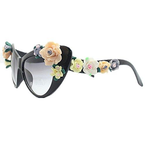 Gu Style Summer Graceful Protección sol Gafas Peggy Handmade Eyes Gafas de sol Beach UV Lady's Cat de Flower Vacaciones XwdgqWWHf