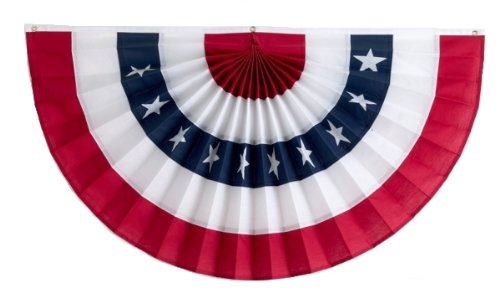 Independence Bunting – 3' x 6' American Made Nylon Flag Bunting. Patriotic Bunting Banner with Embroidered Stars & Sewn ()