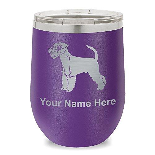 (Wine Glass Tumbler, Schnauzer Dog, Personalized Engraving Included (Dark Purple))