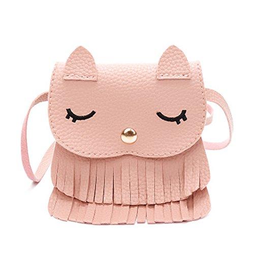 Lacheln Kids Girls Cute Cat Tassel Coin Purse Small Crossbody Soft PU Leather Shoulder Bag - Close Kids