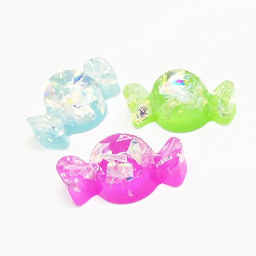 Qingxi Charm 20pcs Shiny Colorful Sweet Candy Christmas Resin Flatback Buttons for Hairband Making Phonecover Album DIY Scrapbooking Embellishments Decoration(Candy 20pcs)
