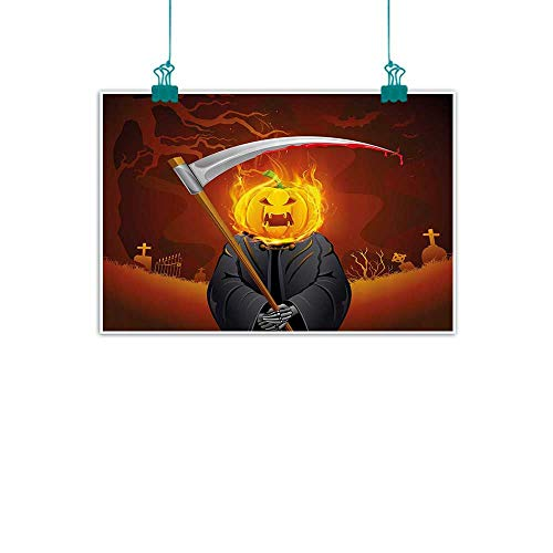 funkky Halloween Decorations Wall Art Decor Poster Painting Pumpkin Grim Head Burning Flames Character Scary Creature Nightmare Decorations Home Decor 35