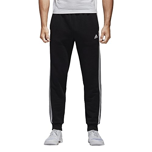 adidas Men's Essentials 3-Stripe Jogger Pants, Black/White, Large