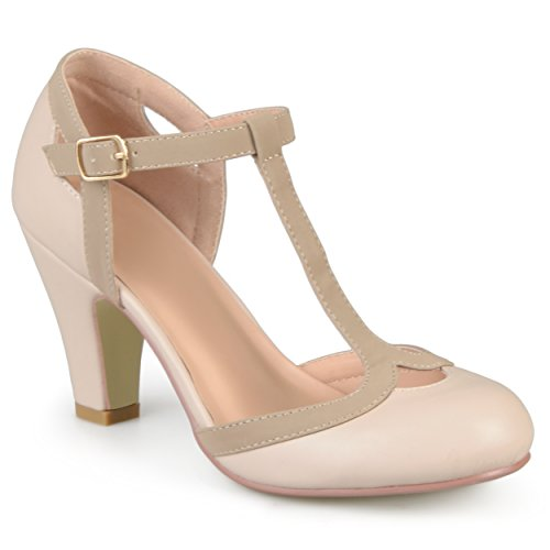Journee Collection Womens T-Strap Round Toe Mary Jane Pumps Nude, 7 Wide Width - Round Nude