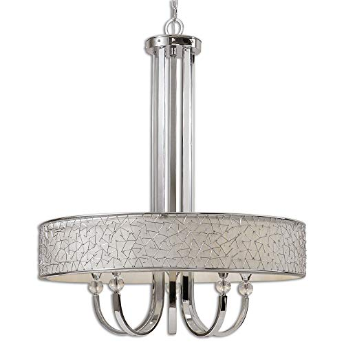- Uttermost 21233 Brandon 5-Light Single Shade Chandelier, Nickel Plated Metal, 44.0