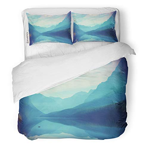Semtomn Decor Duvet Cover Set Twin Size Green Lake Glacier National Park Montana USA Water Meadow 3 Piece Brushed Microfiber Fabric Print Bedding Set Cover -