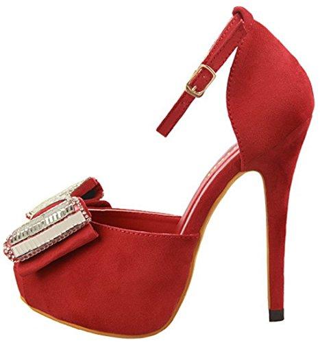 HooH Women's Flannel Diamonds Bowknot Buckle Sandals 1387-1 Red Tkrr1