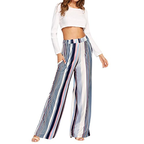 Price comparison product image TAORE Leggings Women's Wide Leg Boho Palazzo Pants Elegant Striped Belted Flowy Wide Leg Pants (USXS=TagM,  Multicolor)