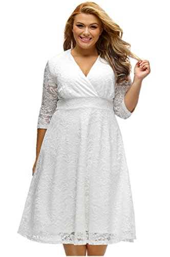 Elegant Womens Luxurious Lace Sexy V-neck High-waisted A-line Plus Size Women Dresses for Women 3XL/XXXL (Fancy Dress Xxxl)