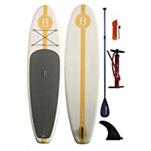 """Stand Up Paddle board with Pump, Paddle, Fin Bright Blue 10'2"""" Inflatable (6"""" Thick)"""