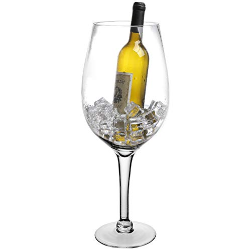 (20 Inch Giant Clear Decorative Hand Blown Wine Glass Novelty Stemware/Champagne Magnum Chiller)