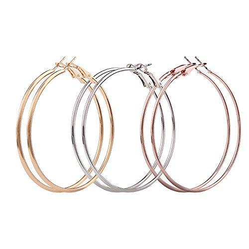 Earrings, Hoshell 3 Pair Lady Women Thin Round Big Large Dangle Hoop Loop Earrings ()