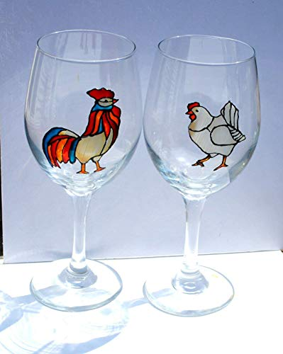 Rooster & Hen Hand Painted Stemmed 20 oz. Wine Glasses (Set of 2), Chicken Kitchen Decor