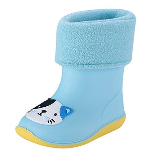 Price comparison product image Orfilaly Infant Wellies Kids Children Baby Cartoon Rubber Waterproof Rainboots Autumn Winter Warm Rain Shoes Boys Girls Blue