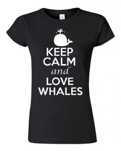 Junior City Shirts Keep Calm and Love Whales T-shirt Tee
