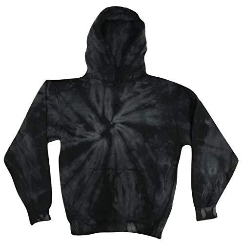 Colortone Tie Dye Hoodie Kids 10-12 (MD) Spider Black - Premium Adult Hoodie