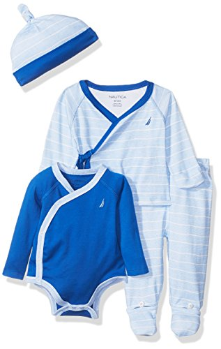Nautica Baby Boys' Four Piece Knit Set with Hat and Onesie, Blue Bell, 0/3 Months