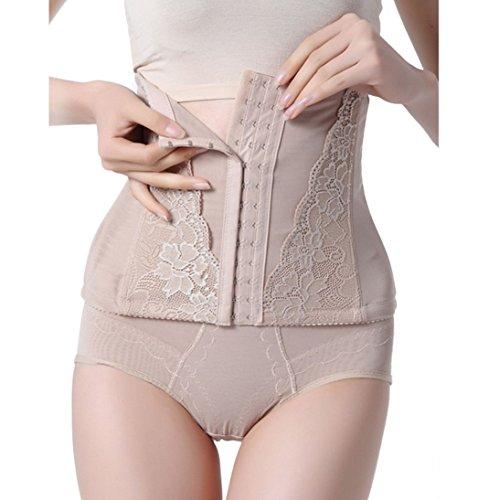 HP95(TM)Women's Slimming Abdomen High Waist Body Shaper Underwear Plus Size (XXL, Khaki)