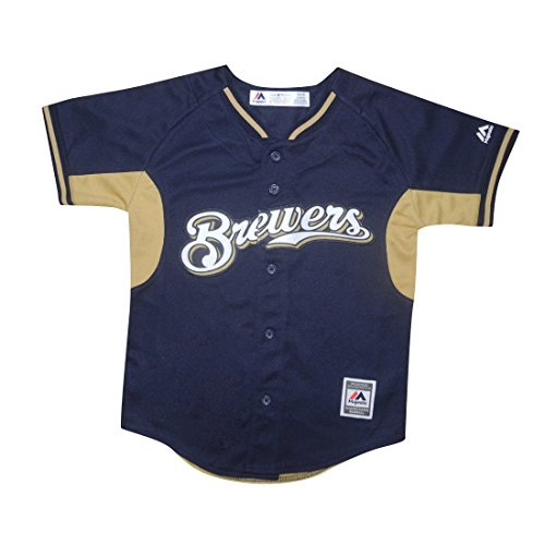 b6849336f MIL BREWERS Majestic Youth Dri-Fit Baseball Jersey with Embroidered Logo  delicate