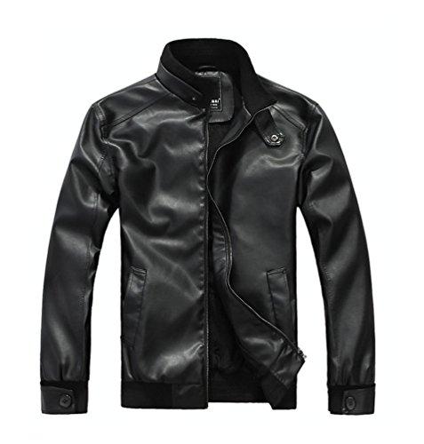 Biker Jacket Uomo Giacca Inverno Ecopelle Di Nero Faux Pelle Moto Cappotti Cappotto Bomber qR4PRwE