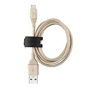 Belkin MIXIT 3 foot Lightning Charge/Sync Cable for iPhone 6S / 6S Plus, iPhone SE, iPhone 5/5s, and iPads (Gold) from Belkin Inc.